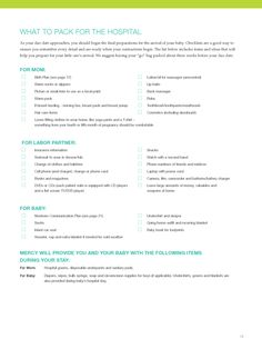 Free checklist download - What to pack for the hospital