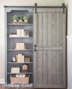 You guys! I could not believe my eyes on the before and after of this farmhouse bookcase. She took a traditional bookshelf and make it the perfect farmhouse DIY decor! DIY Fixer Upper Farmhouse Style Ideas on Frugal Coupon Living. Farmhouse Bookcases, Farmhouse Furniture, Rustic Bookcase, Barrister Bookcase, Modern Bookcase, Country Furniture, Barn Door Closet, Diy Barn Door, Traditional Bookshelves