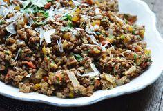 Warm lentil salad with walnuts & herbs