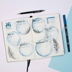Blue watercolor bubbles bullet journal daily log - #Blue #bubbles #bullet #daily #journal #log #minimaliste #watercolor #bujo