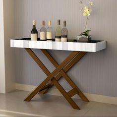 Aparador Bar com Espelho Luxo 4022 JB Bechara Castanho Bar Sala, Coffee Shop, Corner Desk, Diy And Crafts, Sweet Home, Retro, Table, Furniture, Design