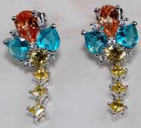 "$39.99 Beautiful Champagne Blue Yellow Topaz 925 Sterling Silver Earrings 1"" long"