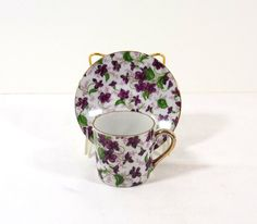 Check out INARCO JAPAN Hand Painted Violets Demitasse Cup and Saucer on katscache