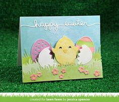 Lawn Fawn - Happy Hatchling, Easter Border, Watercolor Wishes 6x6 paper, Simple Grassy Hillside Borders, Meadow Borders, Flower Hillside Pop-up Add-on _ card by Jessica for Lawn Fawn Design Team