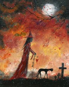 Original Painting WITCH CAT HALLOWEEN CEMETERY CROSS GOTHIC FOLK ART T FOSS