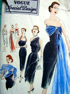 Vintage Vogue Sewing Pattern S-4216 - STRAPLESS EVENING Gown Sheath Dress Over bodice with Tunic and Draped Stole - Breathtaking. $75.00, via Etsy.