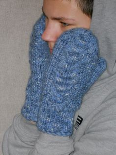 Wool knit mens mittens denim blue gloves gift for by chiffonart, $38.00
