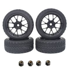4Pcs/lot Rubber RC 1/10 On Road Tires Wheel Rims Hex 12 Flat run Dia:63mm  Wide:26mm RC Cars Replacement