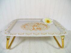 Vintage Roses EnamelWare Bed Tray Folding Table   Retro Metal ToleWare  Portable Desk Design   Shabby Chic / BoHo Bistro Serving / Display