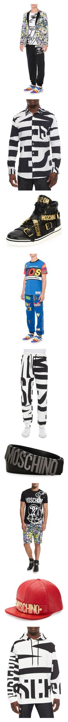 """""""Moschino Men's Collection"""" by neimanmarcus ❤ liked on Polyvore featuring activewear, activewear jackets, neon activewear, logo sportswear, moschino, comic book, men's fashion, men's clothing, men's shirts and men's casual shirts"""