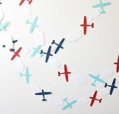 Paper Garland Airplane Garland Birthday Garland by ScoutAndAcadia Planes Birthday, Planes Party, Boy Birthday, Helicopter Birthday, Airplane Baby Shower, Airplane Party, Baby Boy Shower, First Birthday Parties, First Birthdays