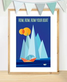 Row Your Boat A4 Print Nursery Rhyme Quote Poster by TheSmallCaps, $18.00