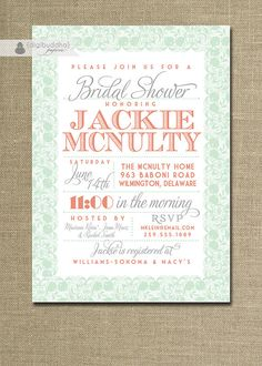 Lace Bridal Shower Invitation Coral Orange by digibuddhaPaperie, $23.00
