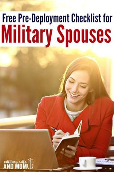 Printable pre deployment checklist for military spouses. The perfect way to minimize stress and stay organized during military deployment. Military wife. Military girlfriend. Military family.