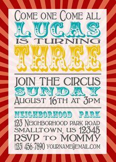 20 Circus Birthday Party Invitations 5x7