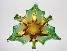 VTG CHALET LORRAINE MID CENTURY ITALIAN MURANO ART GLASS GREEN YELLOW VASE BOWL