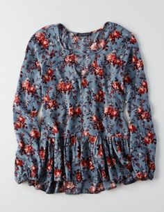 AEO PRINTED PEASANT TOP