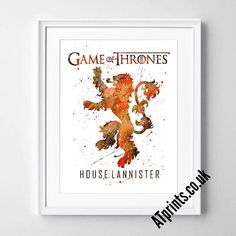 GAME OF THRONES  house lannister Watercolor Poster Print