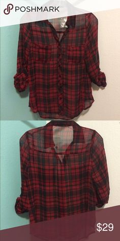 Blouse NWOT Super soft plaid flannel chiffon shirt with roll up sleeves. One breast pocket detail, relaxed fit. Tops Blouses