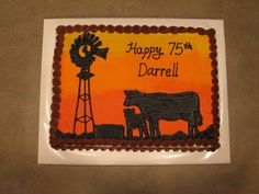 Rancher's Cow/calf Silhouette Birthday Cake on Cake Central