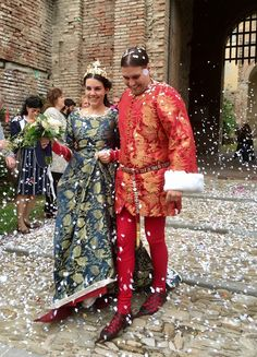 medieval wedding dresses - hand woven silk damask with real gold. Fabric woven in Italy, sewing Swan River Crafts = me & Noora