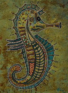 Sea horse original painting detailed patterns by DreamtimeStudios, $68.00