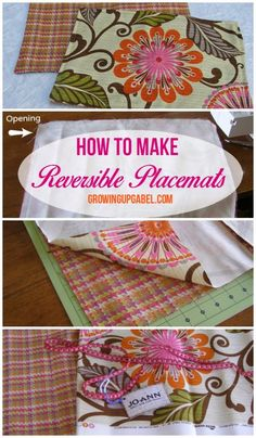 Sewing Projects for The Home - How To Make Reversible Placemats  -  Free DIY Sewing Patterns, Easy Ideas and Tutorials for Curtains, Upholstery, Napkins, Pillows and Decor http://diyjoy.com/sewing-projects-for-the-home