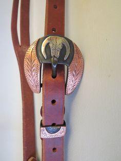 "9413 New Handmade GRUMPY OLD COWBOY ¾"" Heavy Harness Headstall DAVID HUNT Buckle"