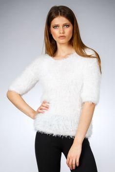 Pulover marca Be You pufos alb fulg Winter 2017, Fall Winter, Autumn, V Neck, Clothes For Women, Tops, Fashion, Outerwear Women, Moda