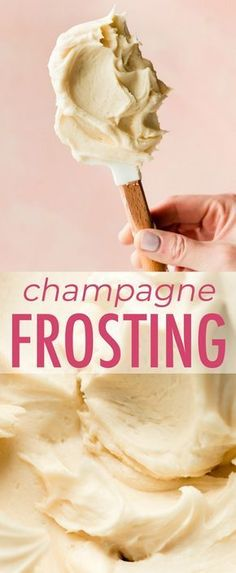 Homemade champagne frosting is a delightfully spiked and sparkly addition to any dessert. Recipe on sallysbakingaddiction.com