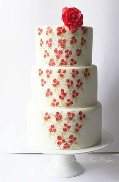 Tiers of Tiny Hand Painted Red Roses