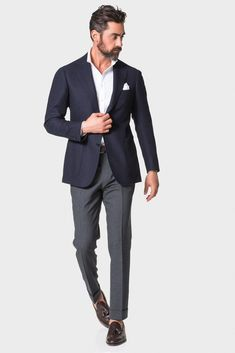 Navy 'balloon' jacket mens suits in 2019 мужской Mens Fashion Suits, Mens Suits, Preppy Mens Fashion, Fashion Outfits, Navy Blazer Outfits, Navy Blazer Grey Pants, Dressy Outfits, Work Outfits, Chic Outfits