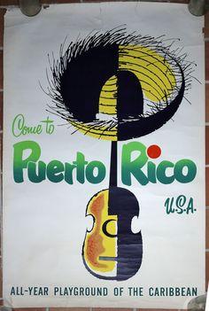 Vintage Puerto Rico tourism poster c.1960s