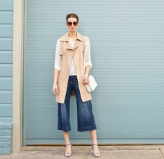 Culottes: The key to wearing this trickier cropped style? It's all about height and proportion. Pair them with heeled sandals and a slimming layer like a long, sleeveless trench.