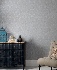 Legacy L x W Rolle Tapete Graham & Brown Damask Wallpaper, Embossed Wallpaper, Wallpaper Panels, Gray Bedroom, Master Bedroom, Master Suite, Black Dressers, Tile Panels, Hazelwood Home