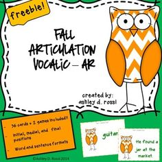 FREE Articulation Vocalic- /ar/ for Fall: Speech Therapy C. Repinned by SOS Inc. Resources pinterest.com/sostherapy/.