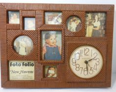 Vintage Photo Frame Wall Clock Wall Hanging 70s Home Decor