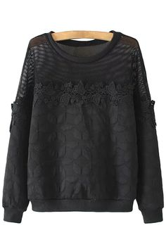 Charming Lace Paneled Long Sleeve Sweatshirt - OASAP.com