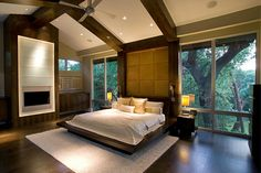 Modern Master Bedroom Interior Design - loving the large windows! Luxury Bedroom Furniture, Master Bedroom Interior, Modern Master Bedroom, Dream Bedroom, Home Bedroom, Bedroom Decor, Bedroom Ideas, Master Bedrooms, Master Suite