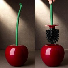 Our Cherry Brush upgrades your toilet brush to a cute, fun, and concealed design. The toilet brush is shaped like a cherry and is perfect for disguising in a nice bathroom. Gone are the days of unpleasant, ugly toilet brushes! Toilet Cleaning, Bathroom Cleaning, Cleaning Kit, Deep Cleaning, Cleaning Brushes, Cleaning Checklist, Toilette Design, Toilet Brushes And Holders, Brush Holders