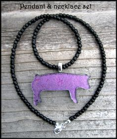Show pig dichroic glass pendant with necklace by hopthefence, $30.00