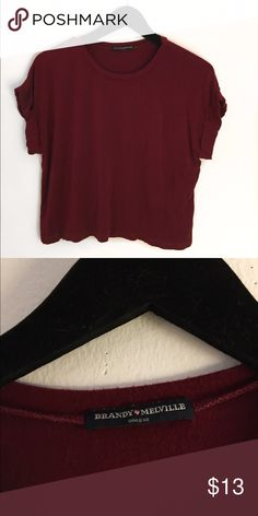 Maroon Brandy Melville tee Super cute Brandy Melville Tee shirt!! It's really soft and in great condition! Brandy Melville Tops Tees - Short Sleeve