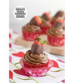 Strawberries chocolate cupcakes