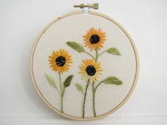 Embroidery Hoop Art - Golden Tuscan Sunflowers. $28.00, via Etsy.
