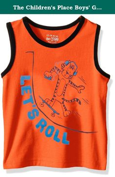 The Children's Place Boys' Graphic Tank Top, Surfer, 12-18 Months. Graphics for your go-get-'em little guy with contrast rib-knit trim made of 100 percent cotton.