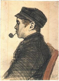 Vincent van Gogh Young Man with a Pipe Drawing