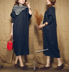 long linen dress/ loose fitting shirt dress in black /
