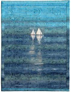 Sailboats by Margaret Heath Hartranft for the Alzheimer's Art Quilt Initiative Ocean Quilt, Beach Quilt, Small Quilts, Mini Quilts, Quilting Projects, Quilting Designs, Landscape Art Quilts, Landscapes, Nautical Quilt