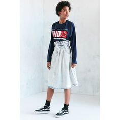 BDG Alabama Acid Wash Paperbag Denim Midi Skirt (€70) ❤ liked on Polyvore featuring skirts, blue, denim midi skirt, a line denim skirt, high waisted denim skirt, knee length denim skirt and denim skirt