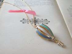 Hot Air Balloon Necklace Vintage Style 3D Pastel Balloon Aircraft Hand Painted Long Chain Ready to Wear Necklace Inv0088 by PeculiarCollective on Etsy
